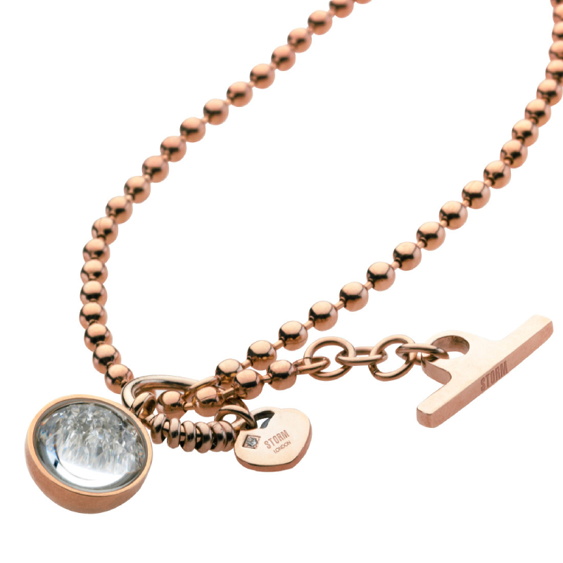 Crysta Ball Necklace Rose Gold